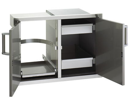 Fire Magic- Flush Mounted Double Doors with Trash and Dual Drawers